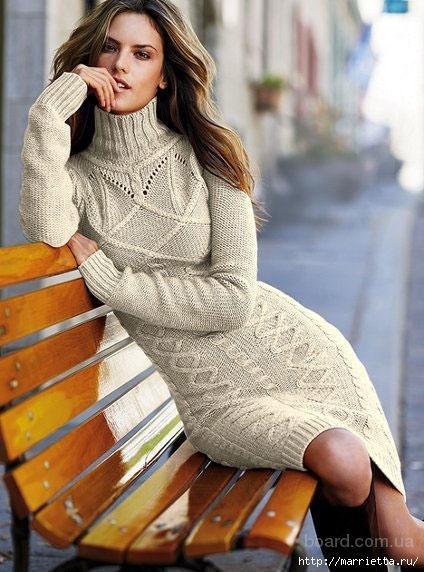 купить вязаное платье с длинными