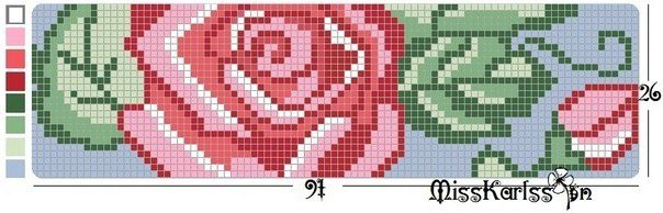 Схема для плетения фенечки с розами