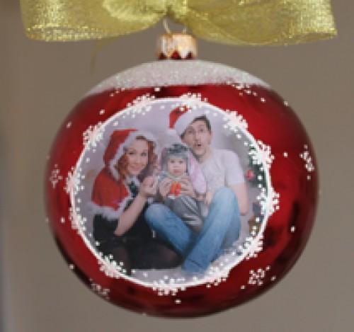 шарик с фото на елку