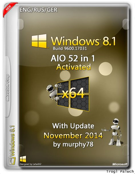 Windows 8.1 AIO 52in1 With Update November by murphy78 (x64) [ENG/RUS/GER]