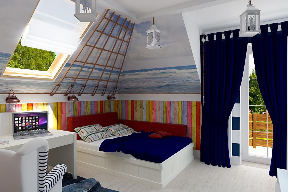 Дизайн детской комнаты на мансарде с